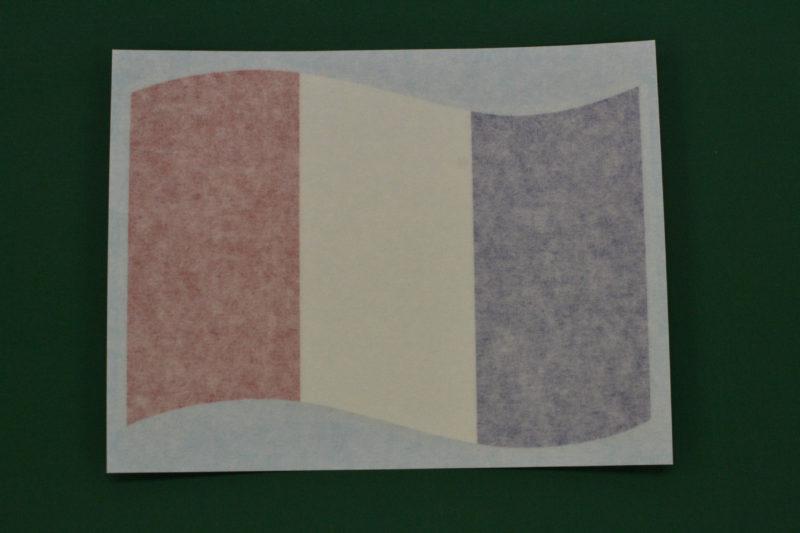 フランス国旗のカッティングシール リタックシールを被せた状態